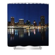 Baltimore Skyline At Dusk On The Inner Harbor Shower Curtain