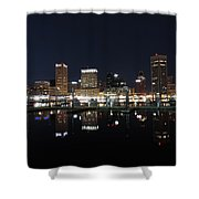 Baltimore Skyline At Night Shower Curtain