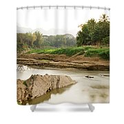 Bamboo Bridge At The Tip Of The Luang Shower Curtain