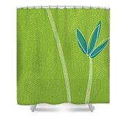 Bamboo Namaste Shower Curtain by Linda Woods