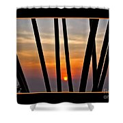 Bamboo Sunset - Black Frame Shower Curtain