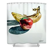 Bananas And An Apple Shower Curtain