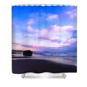 Bandon Beach Painted Sunset Shower Curtain