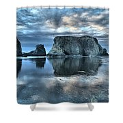 Bandon Beach Sunset Reflections Shower Curtain
