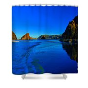 Bandon Blue And Gold Shower Curtain by Adam Jewell