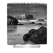 Bandon Sea Stacks Black And White Shower Curtain