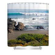 Bands Of Green Brown And Blue Of The Beach Shower Curtain