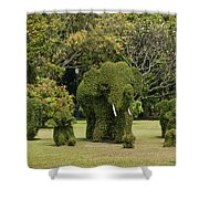 Bang Pa-in Royal Palace Elephant Topiary Dtha0116 Shower Curtain