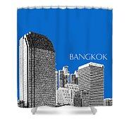 Bangkok Thailand Skyline 2 - Blue Shower Curtain