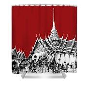 Bangkok Thailand Skyline Grand Palace - Dark Red Shower Curtain