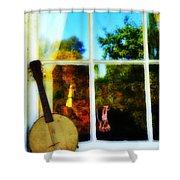 Banjo Mandolin In The Window Shower Curtain