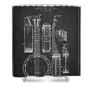 Banjo Patent Drawing From 1882 Dark Shower Curtain