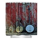 Banjos Against A Barn Door Shower Curtain