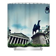 Bank Of England The Royal Exchange And The Wellington Statue Londonuk Shower Curtain