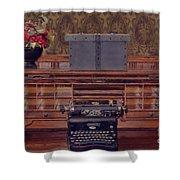 Bank - Secretary Shower Curtain by Liane Wright