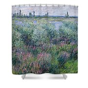 Banks Of The Seine At Vetheuil Shower Curtain