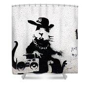 Banksy Boombox  Shower Curtain