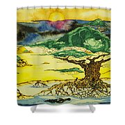 Banyan With Two Crocs Shower Curtain