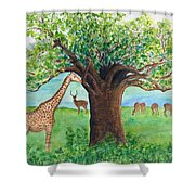 Baobab And Giraffe Shower Curtain