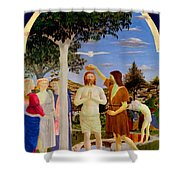 Baptism Of Christ - Oil On Canvas Shower Curtain