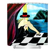Bar Scene Lady With Hat By The Water Shower Curtain
