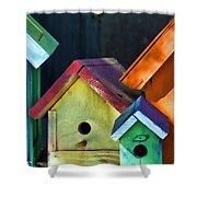 Barbara's Birdhouses Shower Curtain