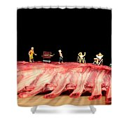 Barbecue On Lamb Ribs Shower Curtain