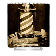Barber - Barber Pole - Black And White Shower Curtain