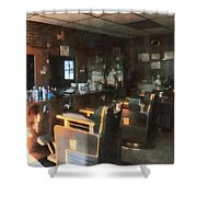 Barber - Barber Shop With Sun Streaming Through Window Shower Curtain