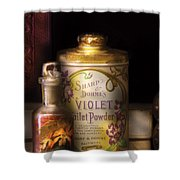 Barber -  Sharp And Dohmes Violet Toilet Powder  Shower Curtain by Mike Savad