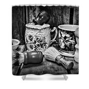 Barber - Shaving Mugs And Brushes In Black And White Shower Curtain