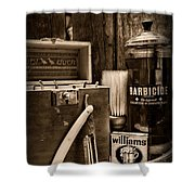 Barber - Vintage Barber Tools - Black And White Shower Curtain