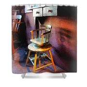 Barber - Vintage Child's Barber Chair Shower Curtain