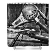 Barber - Vintage Hair Care In Black And White Shower Curtain