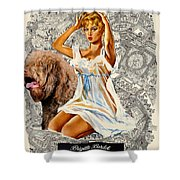 Barbet Art - Una Parisienne Movie Poster Shower Curtain by Sandra Sij
