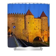 Barbican At Night In The Old Town Of Warsaw Shower Curtain