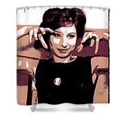 Barbra Streisand - Brown Pop Art Shower Curtain