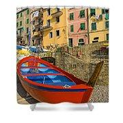 Barca Rossa A Rio Maggiore Shower Curtain