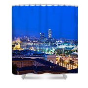 Barcelona And Its Skyline At Night Shower Curtain