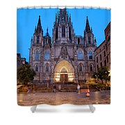 Barcelona Cathedral In The Evening Shower Curtain