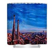 Barcelona City View And Sagrada Familia Shower Curtain