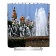 Barcelona Fountain Placa De Catalunya Shower Curtain