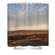 Barcelona On Sunrise. Aerial View Shower Curtain