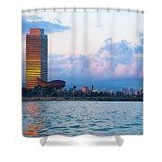 Barcelona Skyline From Sea Shower Curtain