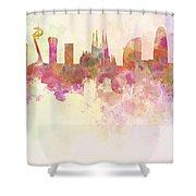 Barcelona Skyline In Watercolour Background  Shower Curtain