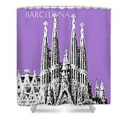 Barcelona Skyline La Sagrada Familia - Violet Shower Curtain
