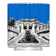 Barcelona Skyline Park Guell - Blue Shower Curtain