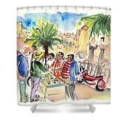 Bargaining Tourists In Siracusa Shower Curtain