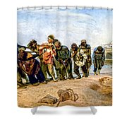 Barge Haulers On The Volga 1870-1873 Shower Curtain