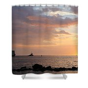 Barge Into The Sunset Shower Curtain